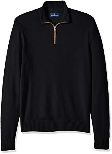 Amazon Brand - BUTTONED DOWN Men's 100% Premium Cashmere Quarter-Zip Sweater, Black, X-Large