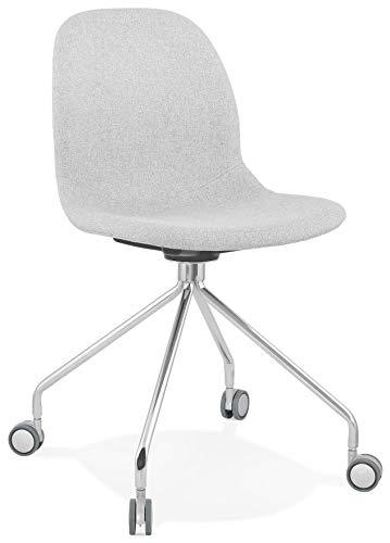 HJÜL - Silla con ruedas de diseño en tejido gris claro de escritorio con patas de metal cromado