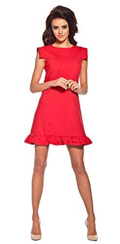 Lemoniade extravagantes Kleid mit ausgefallenen, kurzen Ärmeln und Rüschen-Saum, rot, Gr. S