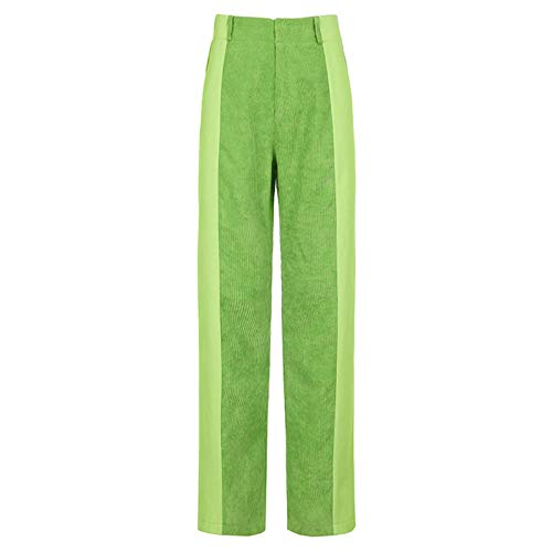 Yuemengxuan Women's Y2K Retro Corduroy Patchwork Pants Ladies Straight Trousers Contrast Color High-Waist Casual Pants (Green, L)