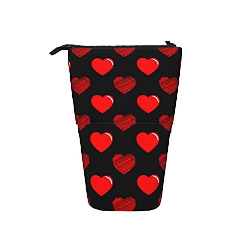 Día de San Valentín Estuche de lápices de corazón rojo Estuche de papelería de pie Estuche para bolígrafo...