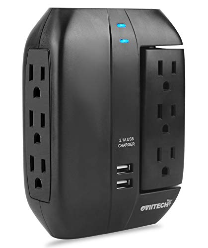 6 Outlet Multi Plug Swivel Surge Protector Wall Tap with 2 USB Charging Ports, Oviitech Wall Adapter, Smart Charging for Home/Office/Travel,Black,ETL Certified