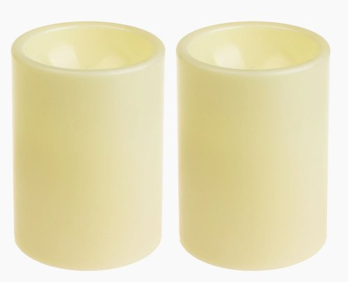 GiveU Flameless LED Candles 2 Pack Ivory Battery Operated Pillar Candles Light with Timer, 3x4inches for Home Decor and Festivals Celebration