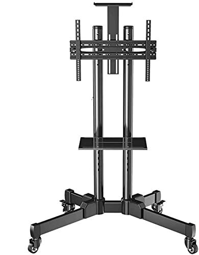 Soporte de pared para soporte de TV Carrito de TV móvil, soporte de piso con carrito universal giratorio de alta resistencia negro con bandeja, para televisores de 32 pulgadas / 49 pulgadas / 50 pulga