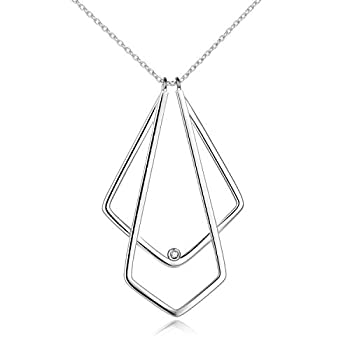 Elegant Double Rhombic Ring Holder Necklace Jewelry 925 Sterling Silver Necklace Nurse Gifts Best Gifts For Wife …  White Glod Plated