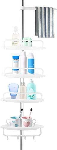 Corner Shower Shelves 4 Tier Bathroom Shower Caddy Bathroom Height 63 118 Adjustable Telescopic product image