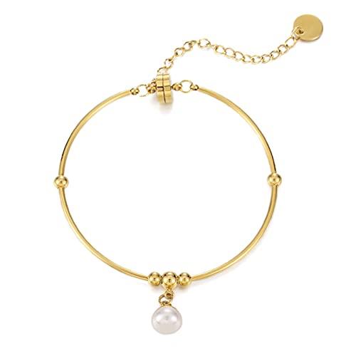 N/A Pulsera de Hebilla magnética de Perlas Reales Naturales para Mujer, Simple, básica, versátil, Elegante, Pulsera, pulseraAniversario Día de la Boda Navidad Día de la Madre Regalo de cumpleaños.