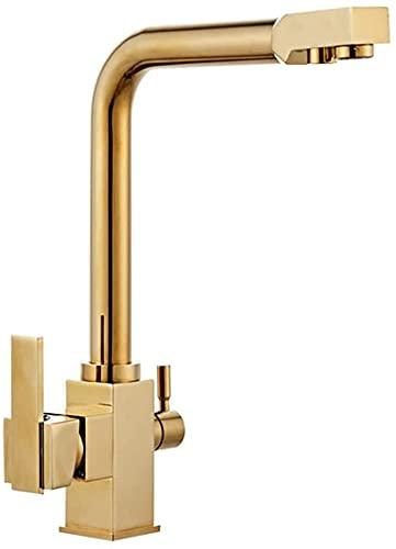 Grifo cocina filtro agua dorado 3 vías, giratorio 360 °, grifo cocina, grifo mezclador 2 palancas, grifo del fregadero, grifo del fregadero para sistemas de ósmosis, sistemas de agua potable latón