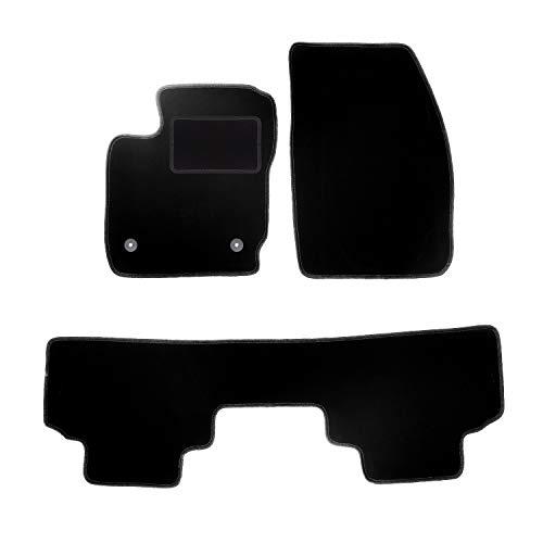 Wielganizator Carlux - Juego de alfombrillas de terciopelo para Ford Tourneo Courier Combi (3 piezas), color negro