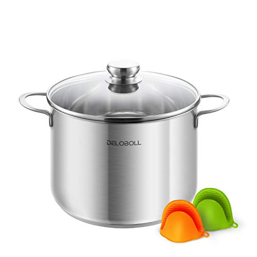 DELOBOLL 8.5 Quart Tri-Ply Covered Stainless Steel Stockpot TOP Standard, Multi-clad Base Induction Cookware, Dishwasher Safe Soup Pot with Lid + 2 Silicone Oven Mitts, Qt