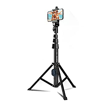 Fugetek 51  Professional Selfie Stick & Tripod Phone Holder Extendable Bluetooth Remote Portable All in One Heavy Duty Aluminum Compatible with iPhone & Android Devices Non Skid Feet Black