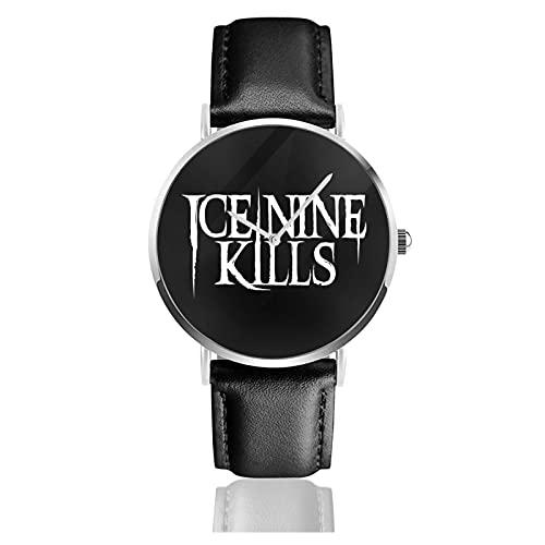 Ice Nine Ki-Lls Relojes Reloj de Cuero de Cuarzo con Correa de Cuero Negro para Hombre, Mujer, colección Joven, Casual de Negocios