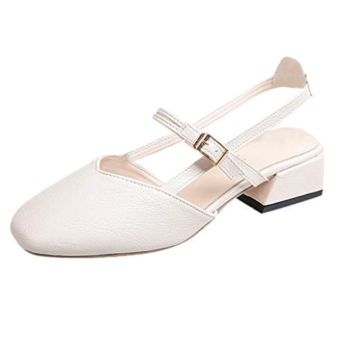 Damen Pumps Slingpumps Blockabsatz Elegante Schuhe Bequem Riemchenpumps Spangenpumps Frühling Sommer Sandalen Celucke