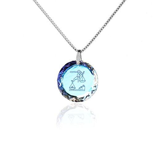 Silberkette Halskette 925 Silber Sternzeichen Tierkreiszeichen Waage hergestellt mit Swarovski®Kristall
