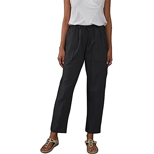 Color SóLido Bolsillos Grandes Cintura EláStica Pantalones Sueltos De Pierna Recta Pantalones Casuales con Cordones para Mujer