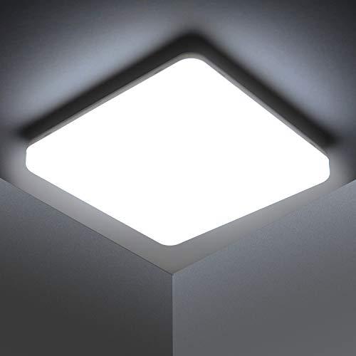 Kambo LED Lámpara de Techo Moderna Plafon Techo Led 48W Cuadrada Blanca Moderno 4320LM Blanco Frío 6500K Impermeable IP44 Para Baño Cocina Sala de Estar Dormitorio Pasillo Habitacion Comedor Balcón