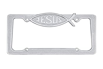 CLA Jesus Christian Fish Metal License Plate Frame - Chrome