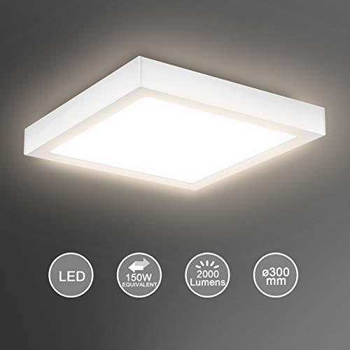 Creyer LED Deckenleuchte, Quadrat LED Panel Deckenlampe 24W ersetzt 150W Glühbirne, 30x30x3.6cm, 2000lm, Warmweiß (3000K), Metall Rahmen, Ideal für Schlafzimmer Küche Wohnzimmer, Nicht Dimmbar