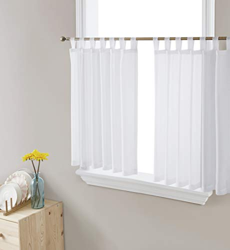 HLC.ME White Sheer Voile Tab Top Window Treatment Cafe Tier Curtain Panels for Kitchen, Bedroom, Small Windows and Bathroom (54 x 36 inch Long, Set of 2)