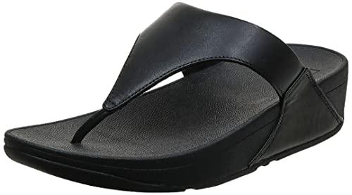 FitFlop Women's Lulu Toe-Post Leather Flip-Flop Sandal, Black, 6