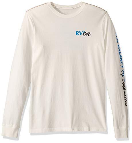 RVCA Men's TEARED Long Sleeve Crew Neck T-Shirt, Antique White, XL