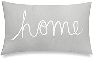 """EURASIA DECOR Home Sentiment Embroidered Decorative Lumbar Accent Throw Pillow Cover for Bedroom Couch Housewarming Porch Sofa 14""""x24"""" (Smoke Grey)"""
