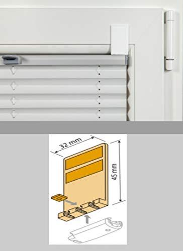 generisch 4er Set Klebepads Stick&Fix Front_für Plissee-Spannschuh_Abgerundeter oder schmaler Falz_Montage OHNE Bohren Falz für Plissee verspannt_Montage OHNE Bohren