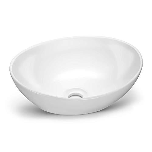 NEU | VMbathrooms Premium Hochglanz Waschbecken Oval | Aufsatzwaschbecken für das Badezimmer und Gäste-WC | Waschschale ohne Hahnloch und ohne Überlauf | Rein-weißes Aufsatzbecken in zeitloser Optik