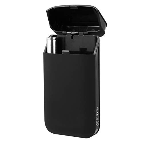 GARNECK Pitillera con mechero, encendedor de cigarrillos eléctrico portátil, mechero USB negro