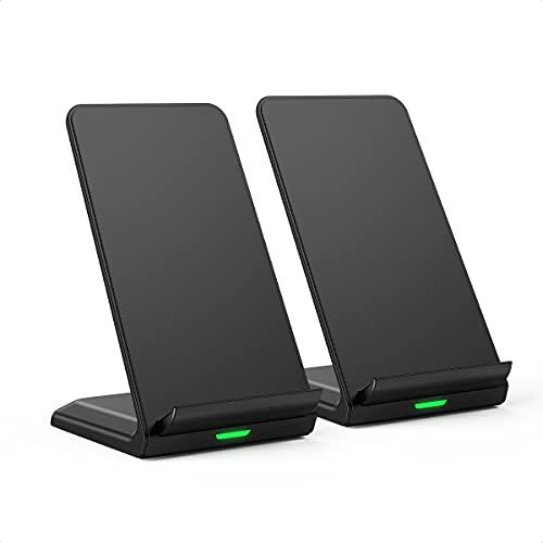Schnelle Kabellose Ladestation Ständer 2 Pack, Wireless Charger für Support 7.5W für iPhone 12/12 Pro/11/ XS Max/XR/XS/X/8, 10W Fast Qi Kabelloses Laden Samsung S20/S10/S9/S8/Note 8,5W Huawei