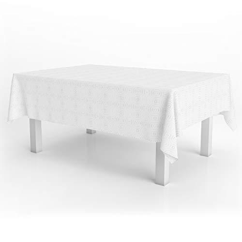 ORYX 5545502 Mantel Hule Muleton Rectangular Blanco Impermeable Antimanchas PVC 140x250 cm. Recortable Uso Interior y Exterior