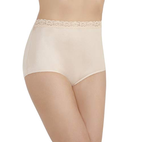 Vanity Fair Women's Perfectly Yours Nylon with Lace Brief Panty 13060, Rose Beige, X-Large/8