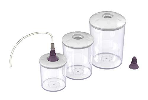 Magic Vac ACO1182 - Juego 3 recipientes para envasado al vacío, tubo y tapón para envasar al vacío, apto para nevera, congelador microondas, libre de BPA, color transparente