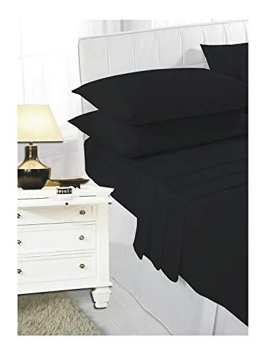 Parure de lit en polycoton avec housse de couette et taies d'oreiller en forme de V Noir King size