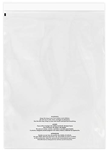 """Spartan Industrial - 14"""" X 20"""" (500 Count) Self Seal Clear Poly Bags with Suffocation Warning for Packaging, Clothes & FBA - Permanent Adhesive"""