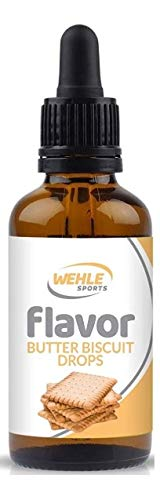 Flavdrops Geschmackstropfen ohne Kalorien - Flavor Drops für Quark, Jogurt, Porridge uvm - Aromatropfen zum Süßen - Wehle Sports 50ml (Butterkeks (Butter Biscuit))