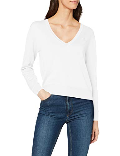 GANT Damen Light Cotton V Neck Pullover, Elfenbein (Eggshell 113), X-Large (Herstellergröße: XL)