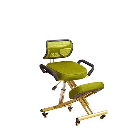 YQTXDS Silla, sillón ergonómico para Adultos, Silla de computadora para Sentarse correctiva, Silla para arrodillarse en casa Dorada con Respaldo (Silla)