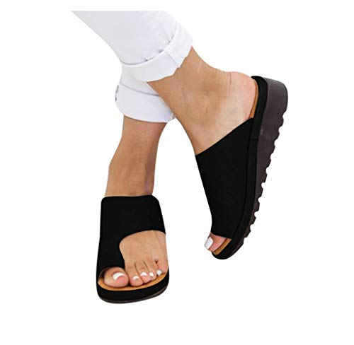 HRLYL Orthopedic Bunion Corrector Sandals,Comfy Platform Flat Sole PU Leather Shoes for Women Casual Soft Big Toe Foot Correction Sandal,Summer Beach Travel Sandal Shoes (8, Black)