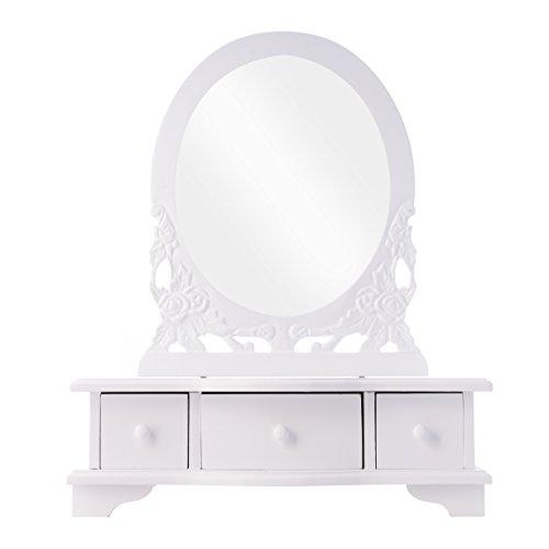 elbmöbel Frisierkommode Schminktisch weiß antik Holz Tischspiegel Frisierspiegel (B38 x H47 x T12cm)