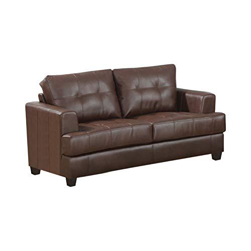 Coaster Fine Furniture 504072 Loveseat Tapizado en Piel Regenerada, color Café Oscu