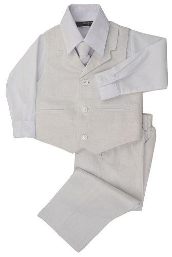 G270 Boys Summer Linen Blend Suit Vest Dresswear Set (4T, White)