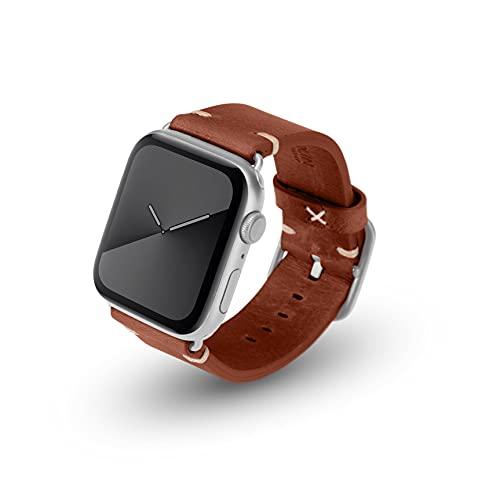 JT Berlin Alex Vintage - Correa para Apple Watch 42 mm/44 mm, correa de piel [Watch SE, Series 6/5/4/3/2/1, correa de repuesto de cuero suave, cierre de acero inoxidable] marrón (talla S/M)