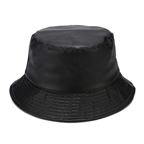 Sombrero unisex de piel sintética de ala ancha, color liso, mate, para pescador de Panamá