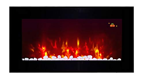 2021 NEW TruFlame Wall Mounted Flat Glass Electric Fire with Pebble and Log Effect