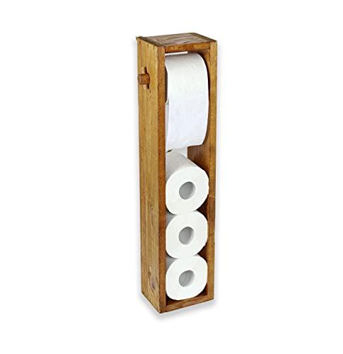 Toilettenpapierhalter aus Holz Stehend | Toilettenpapier Aufbewahrung ohne Bohren | Klopapierhalter WC-Ständer | Deko für Badezimmer (Rustikal, 65 x 14,5 x 11 cm)