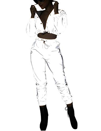 Ensemble 2 Pcs Réfléchissant pour Femme Set Blouson Short Court+Pantalon de Jogging/Combinaison Costume de Festival du Club Hip Hop (Ensemble, L)