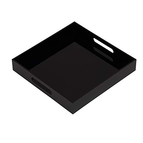 KEVLANG Glossy Black Sturdy Acrylic Serving Tray with Handles-10x10Inch-Serving Coffee,Food,Breakfast,Butler-Kitchen Countertop Tray-Makeup Drawer Organizer-Vanity Table,Ottoman Tray-Decorative Tray