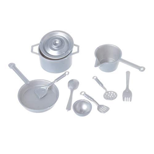 ZOUD 10pcs 1:12 Tenedor Pot Cocina Set Alimentos Juguetes Casa de Muñecas Miniatura Accesorios