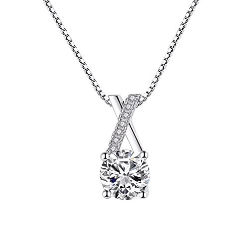 ZHUDJ Collar de Plata de Ley 925 Exquisito circonita Brillante Colgante geométrico Gargantilla Regalo para Mujer joyería Exquisita